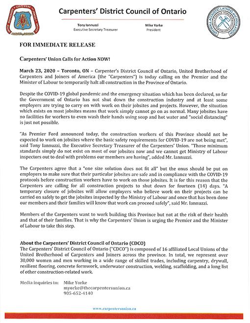 Press Release CDCO COVID-19 Mar 23 2020